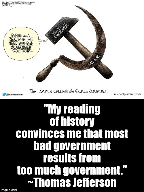 "Big Government Isn't The Solution; It's The Problem |  ""My reading of history convinces me that most bad government results from too much government."" ~Thomas Jefferson 