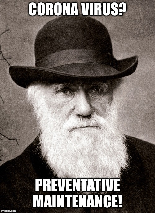 Darwin |  CORONA VIRUS? PREVENTATIVE MAINTENANCE! | image tagged in darwin | made w/ Imgflip meme maker