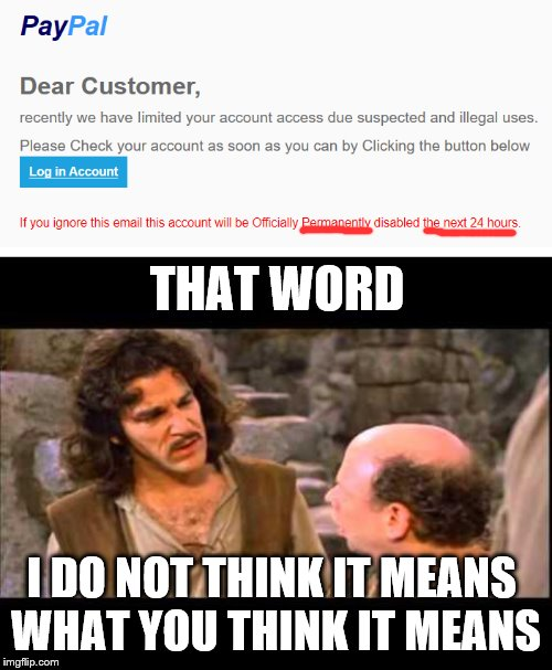 THAT WORD; I DO NOT THINK IT MEANS  WHAT YOU THINK IT MEANS | image tagged in inigo montoya | made w/ Imgflip meme maker