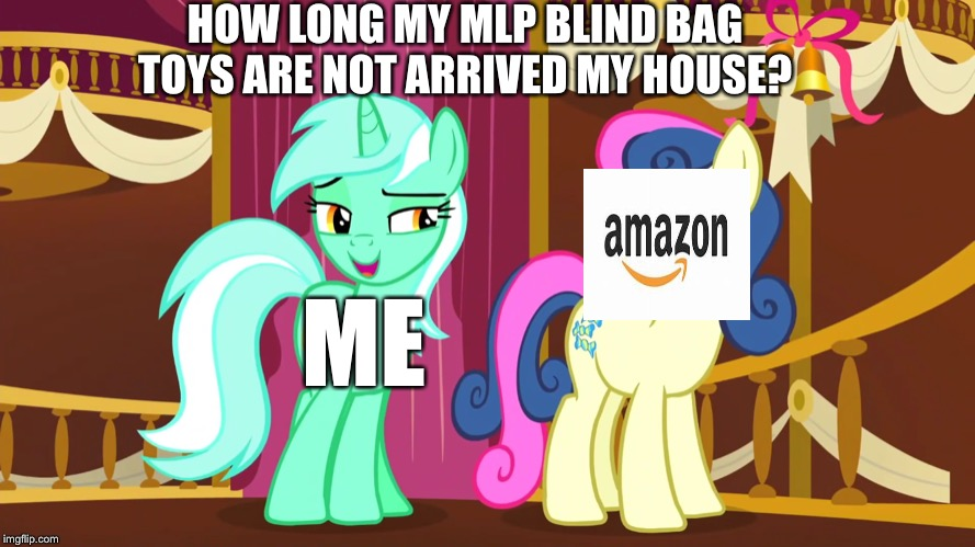 MLP Blind Bag toy | HOW LONG MY MLP BLIND BAG TOYS ARE NOT ARRIVED MY HOUSE? ME | image tagged in lyra and bon bon,amazon,mlp fim,toys | made w/ Imgflip meme maker
