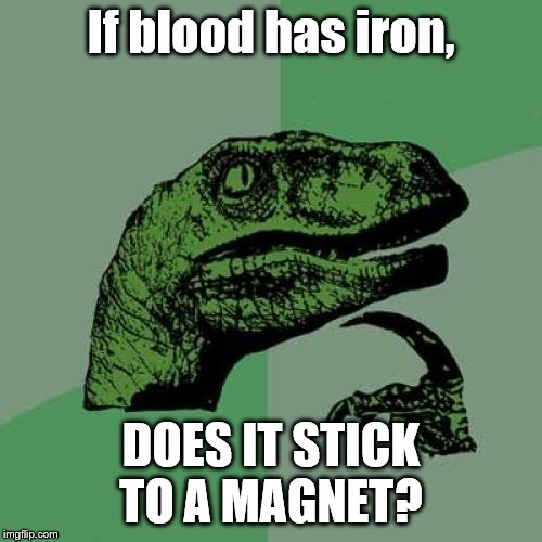 Philosoraptor |  If blood has iron, DOES IT STICK TO A MAGNET? | image tagged in memes,philosoraptor | made w/ Imgflip meme maker