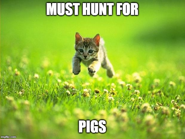 MUST HUNT FOR; PIGS | image tagged in lord of the flies | made w/ Imgflip meme maker