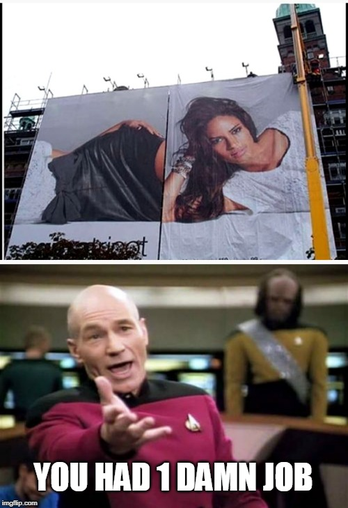 FAIL | YOU HAD 1 DAMN JOB | image tagged in memes,picard wtf,fail,signs/billboards,funny | made w/ Imgflip meme maker