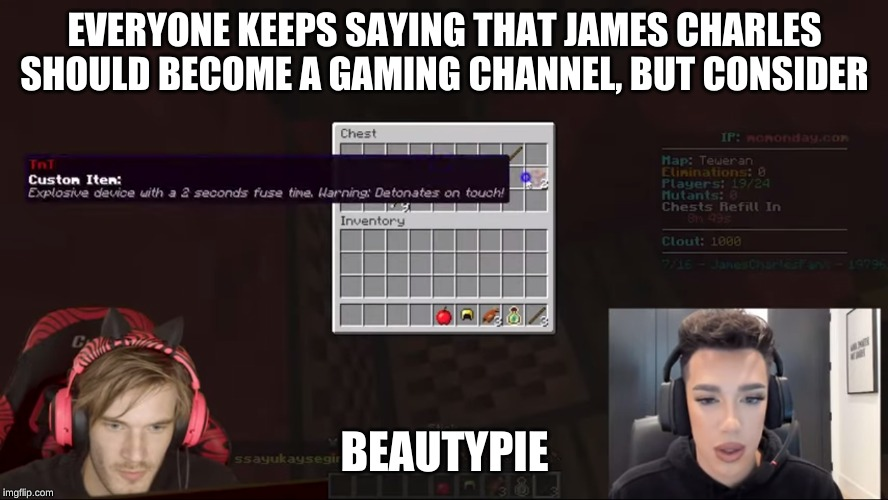 EVERYONE KEEPS SAYING THAT JAMES CHARLES SHOULD BECOME A GAMING CHANNEL, BUT CONSIDER; BEAUTYPIE | image tagged in pewdiepie,james charles,minecraft,youtubers,memes | made w/ Imgflip meme maker