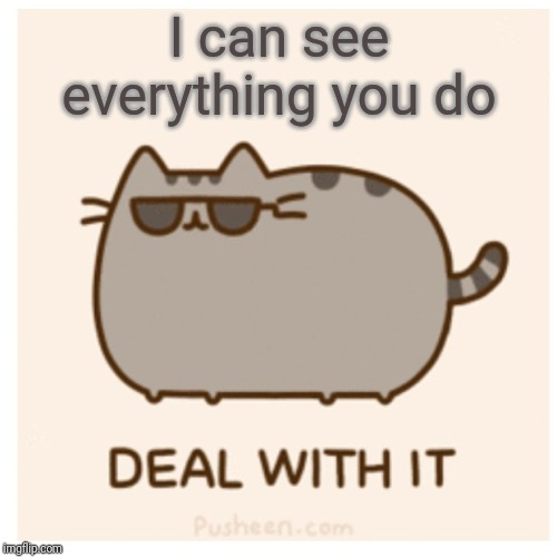 Want to see what your fellow Everyone's_A_Mod Moderators are up to?  Link in the comments. |  I can see everything you do | image tagged in pusheen deal with it,moderators,imgflip mods,i can see everything you do,transparency,ban hammer | made w/ Imgflip meme maker