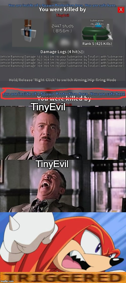 TinyEvil; TinyEvil | image tagged in spiderman laugh 2,knuckles,roblox,spiderman laugh,triggered | made w/ Imgflip meme maker