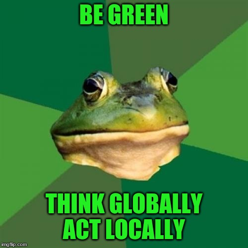 Foul Bachelor Frog | BE GREEN THINK GLOBALLY ACT LOCALLY | image tagged in memes,foul bachelor frog | made w/ Imgflip meme maker