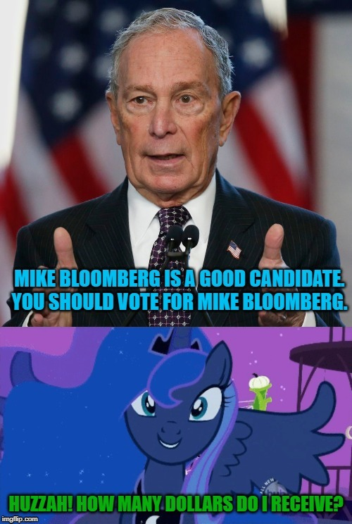 Don't mind me, just trying to get those Bloomberg dollars | image tagged in princess luna,mike bloomberg | made w/ Imgflip meme maker