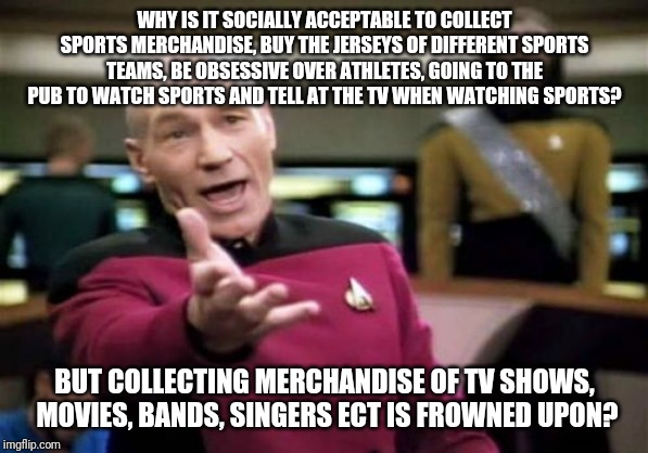 Picard Wtf |  WHY IS IT SOCIALLY ACCEPTABLE TO COLLECT SPORTS MERCHANDISE, BUY THE JERSEYS OF DIFFERENT SPORTS TEAMS, BE OBSESSIVE OVER ATHLETES, GOING TO THE PUB TO WATCH SPORTS AND TELL AT THE TV WHEN WATCHING SPORTS? BUT COLLECTING MERCHANDISE OF TV SHOWS,  MOVIES, BANDS, SINGERS ECT IS FROWNED UPON? | image tagged in memes,picard wtf | made w/ Imgflip meme maker