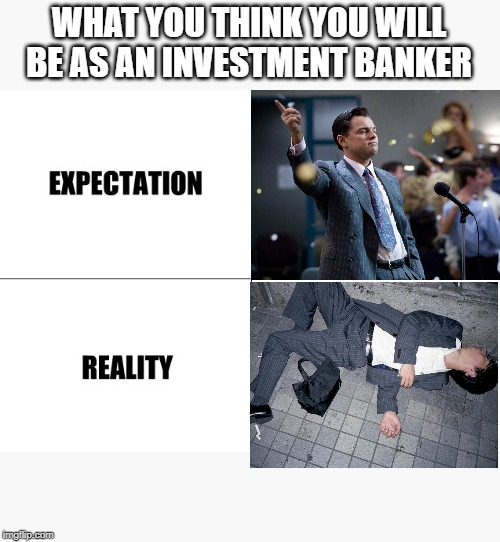 Expectation vs Reality |  WHAT YOU THINK YOU WILL BE AS AN INVESTMENT BANKER | image tagged in expectation vs reality | made w/ Imgflip meme maker