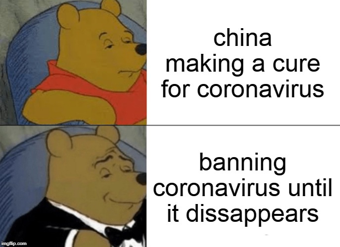 Tuxedo Winnie The Pooh |  china making a cure for coronavirus; banning coronavirus until it dissappears | image tagged in memes,tuxedo winnie the pooh | made w/ Imgflip meme maker
