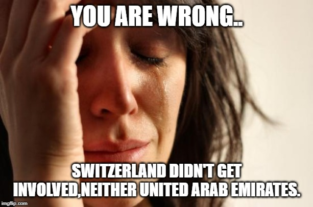 YOU ARE WRONG.. SWITZERLAND DIDN'T GET INVOLVED,NEITHER UNITED ARAB EMIRATES. | image tagged in memes,first world problems | made w/ Imgflip meme maker