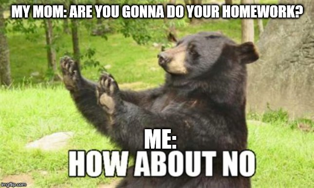 How About No Bear |  MY MOM: ARE YOU GONNA DO YOUR HOMEWORK? ME: | image tagged in memes,how about no bear | made w/ Imgflip meme maker