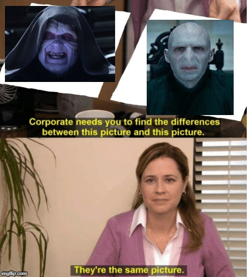 They're The Same Picture | image tagged in office same picture,palpatine,emperor palpatine,darth sidious,voldemort,lord voldemort | made w/ Imgflip meme maker