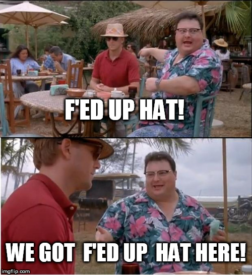 Where In the F did you get that hat? |  F'ED UP HAT! WE GOT  F'ED UP  HAT HERE! | image tagged in memes,see nobody cares,jurrasic park | made w/ Imgflip meme maker