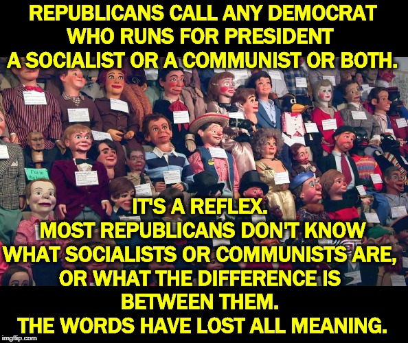 Socialism and communism are quite different. Imgflip hasn't figured that out. Here it's just empty, brainless name-calling. |  REPUBLICANS CALL ANY DEMOCRAT WHO RUNS FOR PRESIDENT  A SOCIALIST OR A COMMUNIST OR BOTH. IT'S A REFLEX.  MOST REPUBLICANS DON'T KNOW WHAT SOCIALISTS OR COMMUNISTS ARE,  OR WHAT THE DIFFERENCE IS  BETWEEN THEM.  THE WORDS HAVE LOST ALL MEANING. | image tagged in trump cult weenies waiting for a thought to occur,republicans,democrats,socialism,communism,ignorance | made w/ Imgflip meme maker