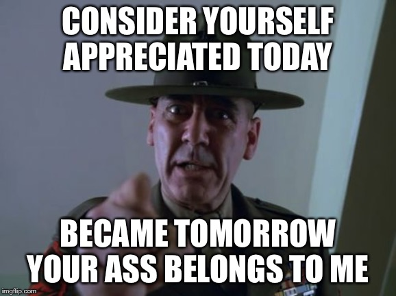 Sergeant Hartmann | CONSIDER YOURSELF APPRECIATED TODAY BECAME TOMORROW YOUR ASS BELONGS TO ME | image tagged in memes,sergeant hartmann | made w/ Imgflip meme maker