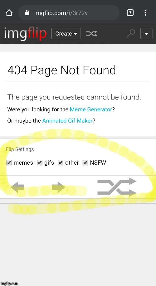 If you land on an image page that returns 404, it's kind of a dead end.  Might be nice to have Flip Settings and buttons there. | image tagged in flip through images | made w/ Imgflip meme maker