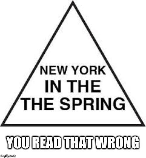 New York in the Spring |  YOU READ THAT WRONG | image tagged in memes,funny,new york,illusions | made w/ Imgflip meme maker