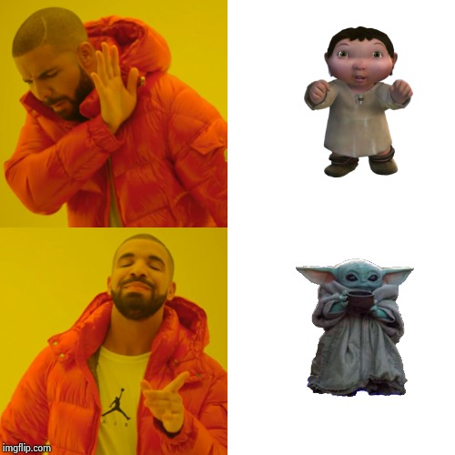 Animators gone wild | image tagged in memes,drake hotline bling,baby yoda,ice age baby,keep calm,crybaby | made w/ Imgflip meme maker
