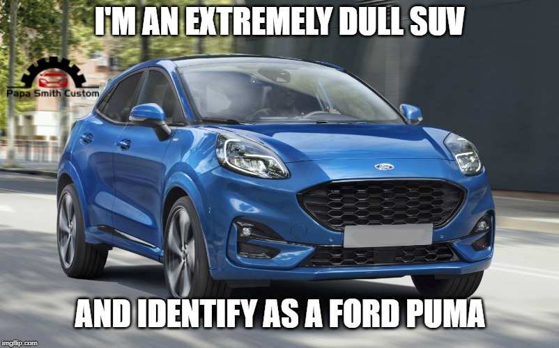 The identity crisis strikes again. |  I'M AN EXTREMELY DULL SUV; AND IDENTIFY AS A FORD PUMA | image tagged in identity crisis,ford,suv,cars,car meme,names for things | made w/ Imgflip meme maker