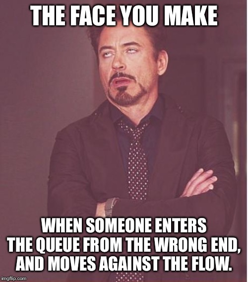 Face You Make Robert Downey Jr |  THE FACE YOU MAKE; WHEN SOMEONE ENTERS THE QUEUE FROM THE WRONG END, AND MOVES AGAINST THE FLOW. | image tagged in memes,face you make robert downey jr | made w/ Imgflip meme maker
