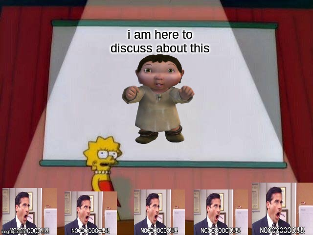 never again |  i am here to discuss about this | image tagged in lisa simpson's presentation,ice age baby,the office | made w/ Imgflip meme maker
