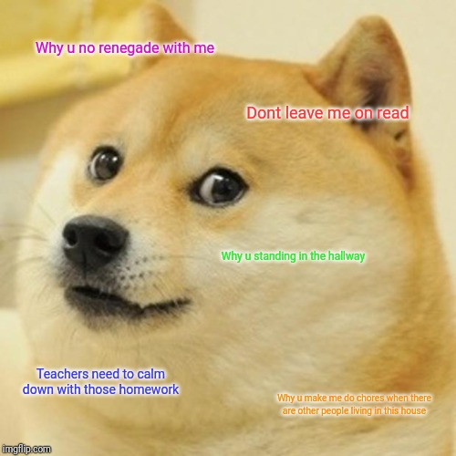 Doge | Why u no renegade with me Dont leave me on read Why u standing in the hallway Teachers need to calm down with those homework Why u make me d | image tagged in memes,doge | made w/ Imgflip meme maker