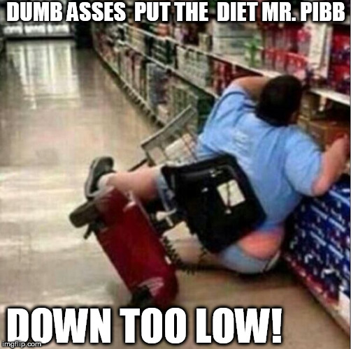 Man, THAT SUCKS! |  DUMB ASSES  PUT THE  DIET MR. PIBB; DOWN TOO LOW! | image tagged in sucks for the guy that had to pick her up too,fat,motor cart,soda aisle,grocery store | made w/ Imgflip meme maker