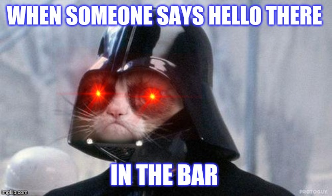 Grumpy Cat Star Wars |  WHEN SOMEONE SAYS HELLO THERE; IN THE BAR | image tagged in memes,grumpy cat star wars,grumpy cat | made w/ Imgflip meme maker