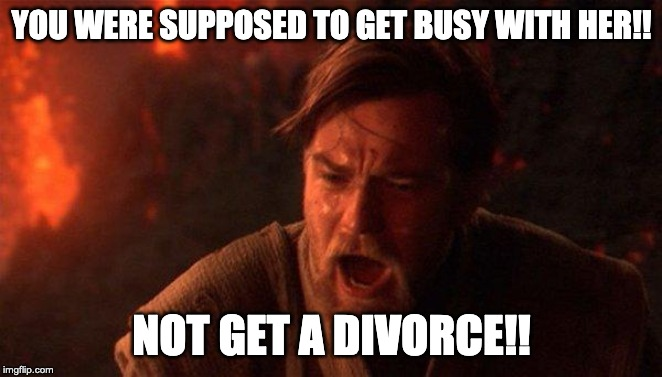 You were the married one! |  YOU WERE SUPPOSED TO GET BUSY WITH HER!! NOT GET A DIVORCE!! | image tagged in memes,you were the chosen one star wars | made w/ Imgflip meme maker