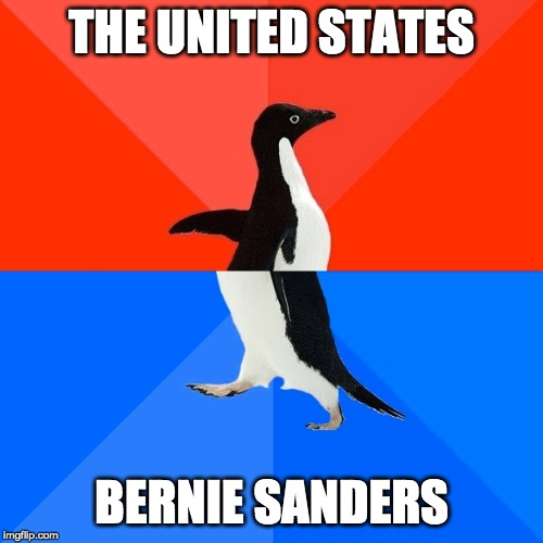 Socially Awesome Awkward Penguin |  THE UNITED STATES; BERNIE SANDERS | image tagged in memes,socially awesome awkward penguin | made w/ Imgflip meme maker