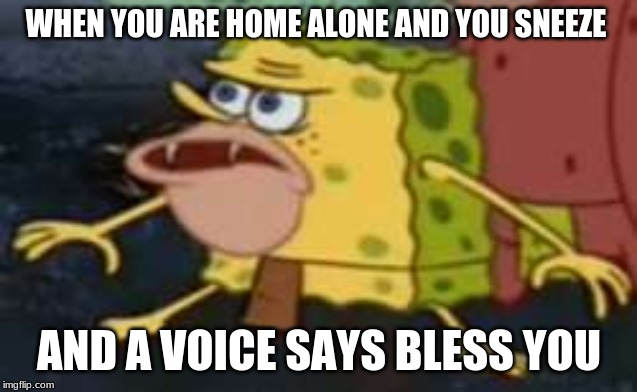 Spongegar |  WHEN YOU ARE HOME ALONE AND YOU SNEEZE; AND A VOICE SAYS BLESS YOU | image tagged in memes,spongegar | made w/ Imgflip meme maker