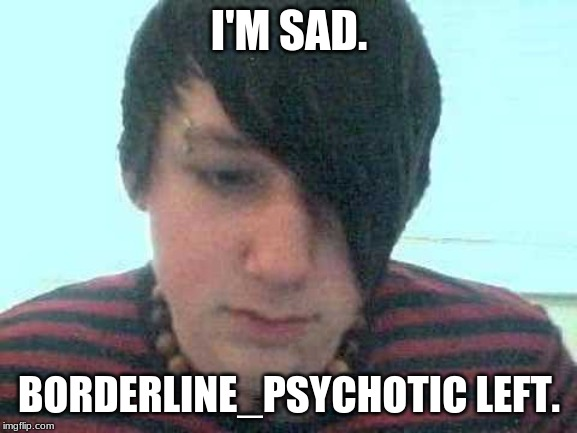*Internal Crying* |  I'M SAD. BORDERLINE_PSYCHOTIC LEFT. | image tagged in emo kid,sad,memes,leaving | made w/ Imgflip meme maker