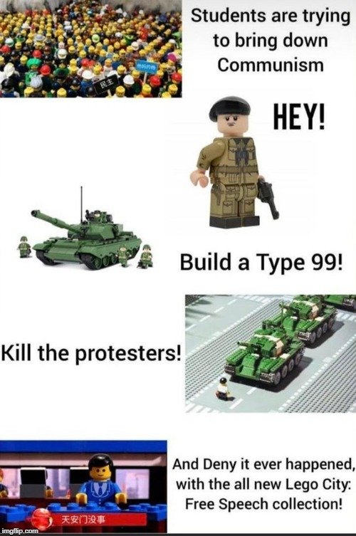 lego chinese governemnt | image tagged in funny,memes,protesters,communism,free speech | made w/ Imgflip meme maker