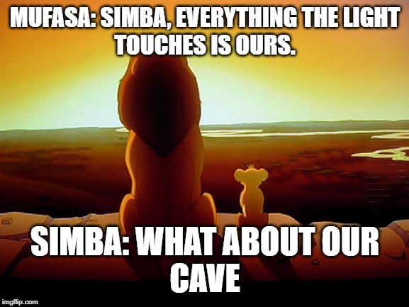 Lion King | MUFASA: SIMBA, EVERYTHING THE LIGHT TOUCHES IS OURS. SIMBA: WHAT ABOUT OUR CAVE | image tagged in memes,lion king | made w/ Imgflip meme maker