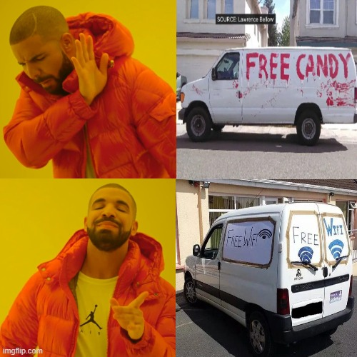 kids these days be like: | image tagged in wifi,drake hotline bling,free candy van,van,white van | made w/ Imgflip meme maker