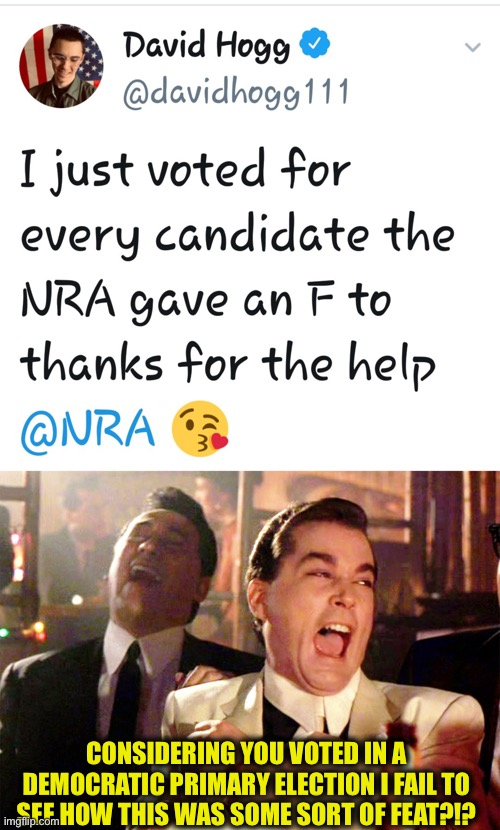 CONSIDERING YOU VOTED IN A DEMOCRATIC PRIMARY ELECTION I FAIL TO SEE HOW THIS WAS SOME SORT OF FEAT?!? | image tagged in memes,good fellas hilarious,david hogg,democratic party,george soros | made w/ Imgflip meme maker