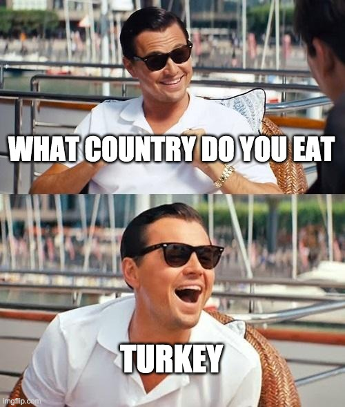 Leonardo Dicaprio Wolf Of Wall Street | WHAT COUNTRY DO YOU EAT TURKEY | image tagged in memes,leonardo dicaprio wolf of wall street | made w/ Imgflip meme maker