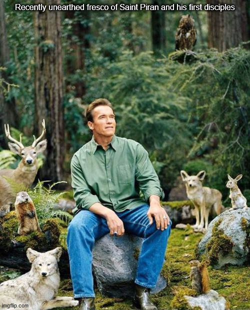 Arnold nature |  Recently unearthed fresco of Saint Piran and his first disciples | image tagged in arnold nature | made w/ Imgflip meme maker