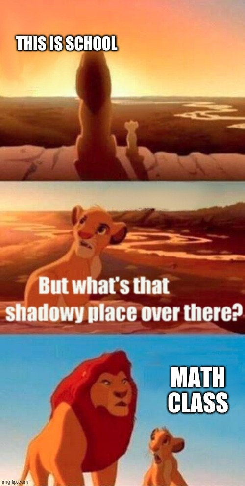 Simba Shadowy Place |  THIS IS SCHOOL; MATH CLASS | image tagged in memes,simba shadowy place | made w/ Imgflip meme maker