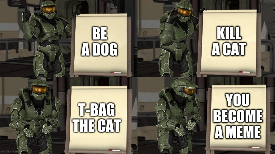 Master Chief's Plan-(Despicable Me Halo) | BE A DOG KILL A CAT T-BAG THE CAT YOU BECOME A MEME | image tagged in master chief's plan-despicable me halo | made w/ Imgflip meme maker
