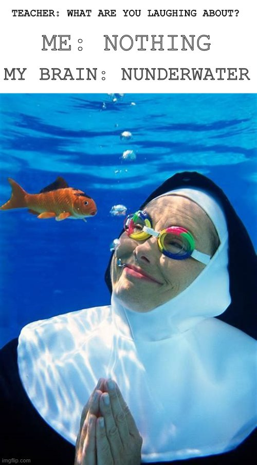 TEACHER: WHAT ARE YOU LAUGHING ABOUT? ME: NOTHING; MY BRAIN: NUNDERWATER | image tagged in pun,teacher,nun | made w/ Imgflip meme maker