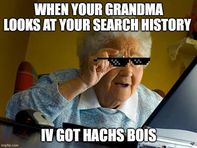 Grandma Finds The Internet |  WHEN YOUR GRANDMA LOOKS AT YOUR SEARCH HISTORY; IV GOT HACHS BOIS | image tagged in memes,grandma finds the internet | made w/ Imgflip meme maker
