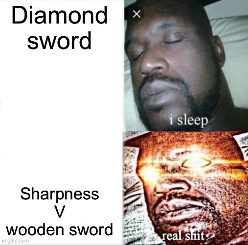 Sleeping Shaq |  Diamond sword; Sharpness V wooden sword | image tagged in memes,sleeping shaq | made w/ Imgflip meme maker