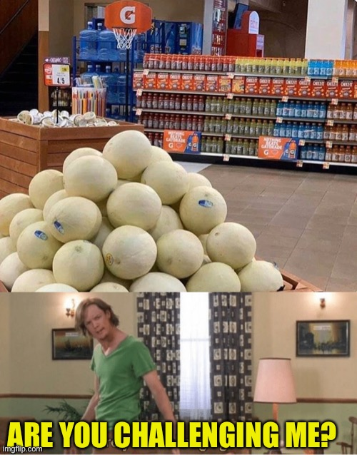 Melonball |  ARE YOU CHALLENGING ME? | image tagged in are you challenging me,melon,basketball,supermarket,games | made w/ Imgflip meme maker