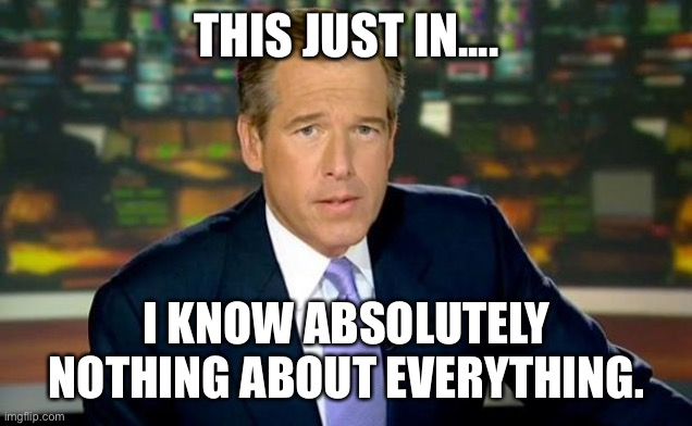 Brian Williams Was There |  THIS JUST IN.... I KNOW ABSOLUTELY NOTHING ABOUT EVERYTHING. | image tagged in memes,brian williams was there | made w/ Imgflip meme maker