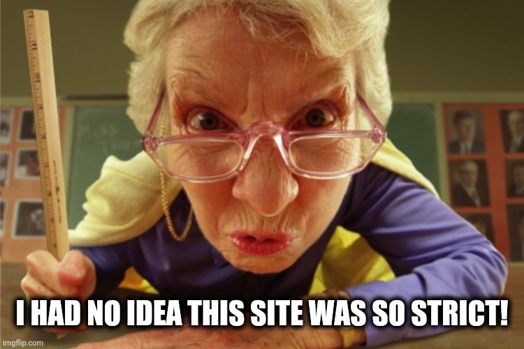 strict | I HAD NO IDEA THIS SITE WAS SO STRICT! | image tagged in strict | made w/ Imgflip meme maker