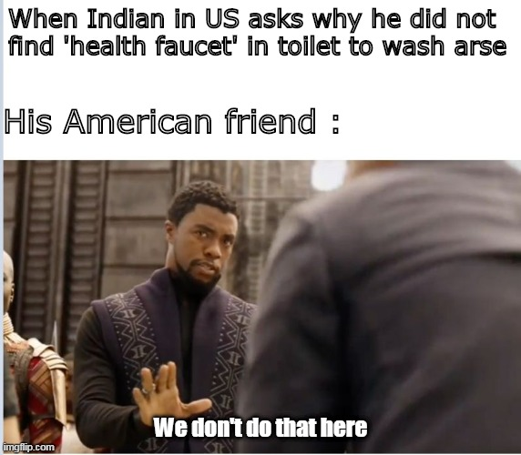 We don't do that here | When Indian in US asks why he did not  find 'health faucet' in toilet to wash arse We don't do that here His American friend : | image tagged in we don't do that here | made w/ Imgflip meme maker