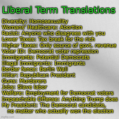 Liberal terminology decoded |  Liberal Term Translations; Diversity: Homosexuality Womans' Healthcare: Abortion  Racist: Anyone who disagrees with you Lower Taxes: Tax break for the rich Higher Taxes: Only source of govt. revenue Voter ID: Democrat voter repression Immigrants: Potential Democrats Illegal Immigrants: Immigrants  Border fence: Berlin Wall Hitler: Republican President Guns: Murderers  Jobs: Slave labor Welfare: Employment for Democrat voters Impeachable Offense: Anything Trump does My President: The Democrat candidate,     no matter who actually won the election | image tagged in blank,liberals,definition | made w/ Imgflip meme maker